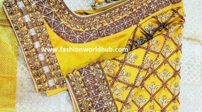 Yellow Embroidery work blouse!