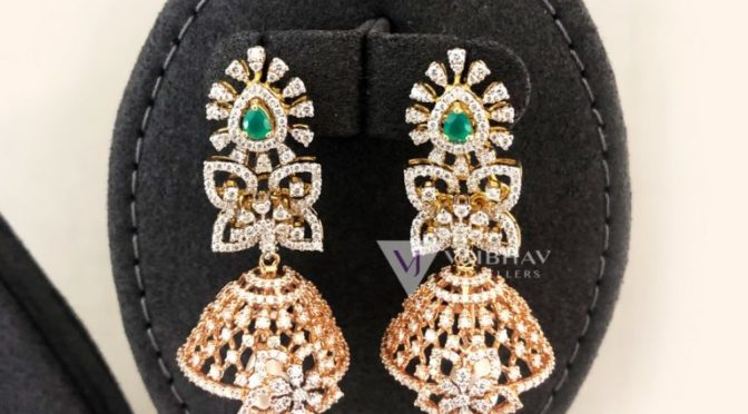 Diamond ear rings by Vaibhav jewellers
