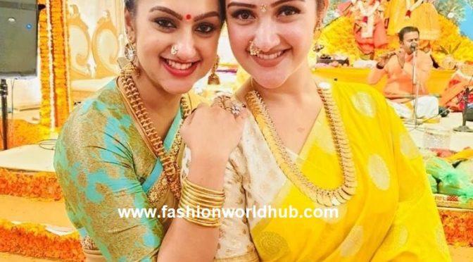 Sridevi Vijaykumar and Pritha Hari in traditional jewellery