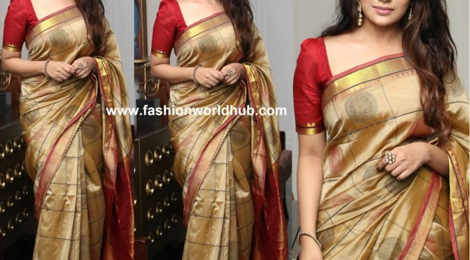 Aathmika in Gold silk saree by Tulsi Silks!