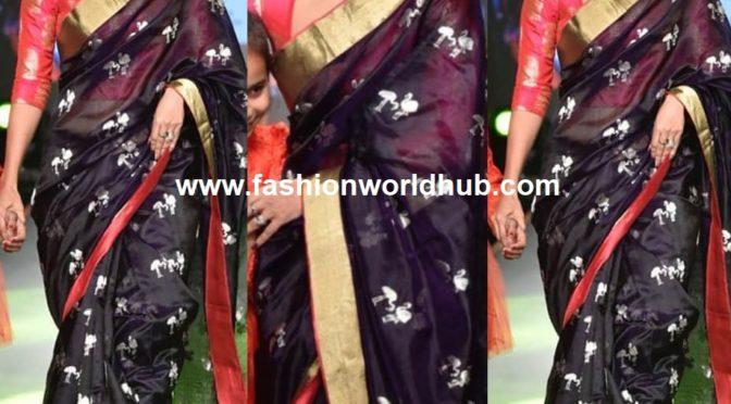 Debina in flamingo motifs black Chanderi silk saree!