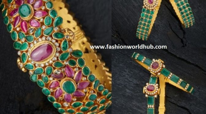 Gold emerald bangles by Navrathan Jewellers