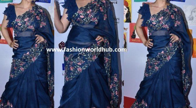 Kangana Ranaut in blue organza saree by Anushree reddy!