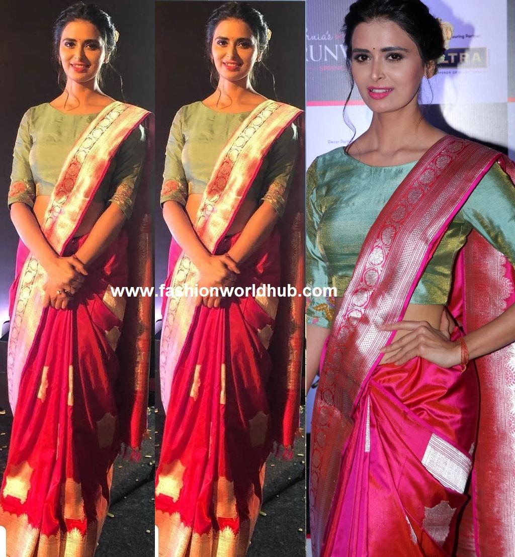 Meenakshi Dixit In A Pink Banarasi Silk Saree Fashionworldhub
