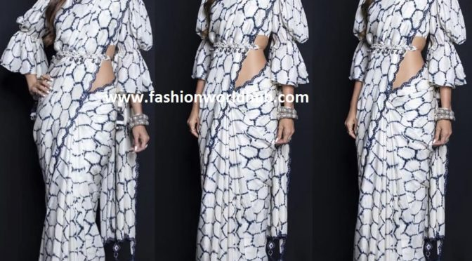 Shilpa Shetty in white and blue printed saree by Punit Balana