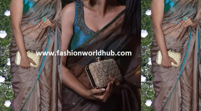 Sonali Kulkarni in designer saree by Fatiz Bridal Emporio