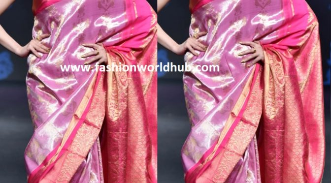 Divya Khosla Kumar in Pink kanjeevaram saree by Dasari Parvathi!