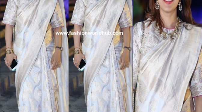 Keerthy Reddy in a white silk saree!