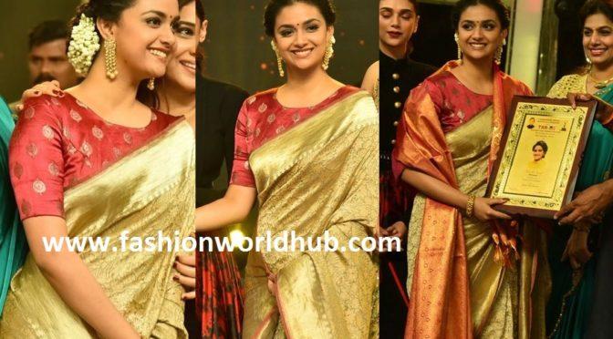 Keerthy Suresh in Gold Kanjeevaram saree at TSR TV9 Awards