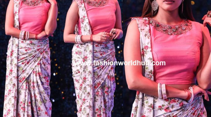kikivijay in Floral saree by MV Bridal couture