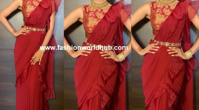 Shilpa Shetty in maroon ruffled saree at her sister-in-law's wedding