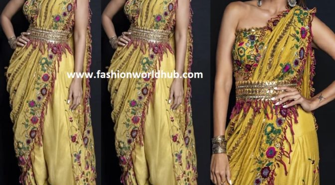 Shilpa Shetty in a dhoti saree by Sonam Luthria
