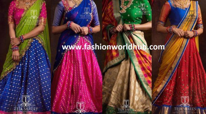 Sravana Bhargavi in traditional pattu half sarees by Teja sarees!!