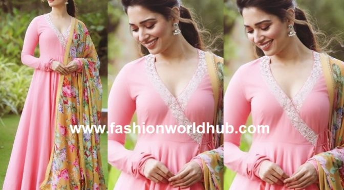 Tamannaah Bhatia in a pink anarkali suit by Nikasha!