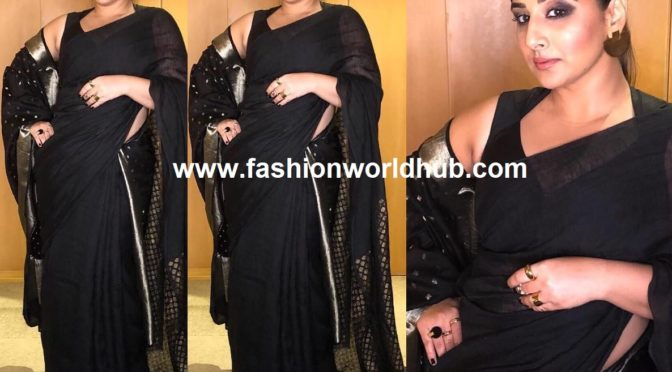 Vidya Balan in black linen saree by Anavila