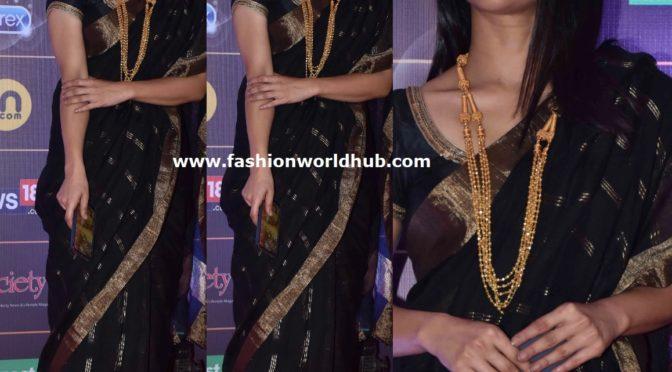 Konkona Sen Sharma in a black saree at News 18 Reel Awards