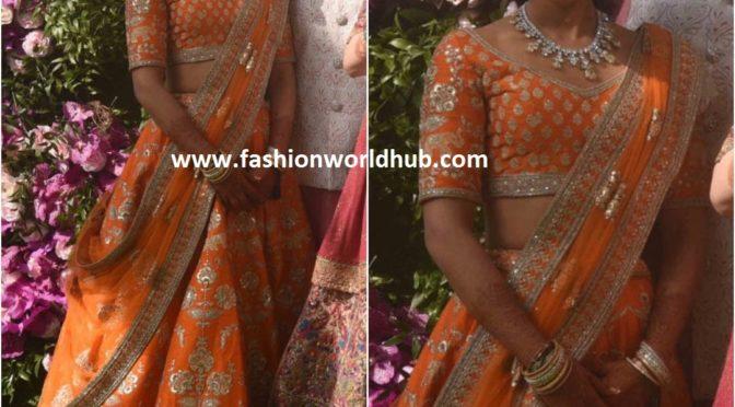 Anant Ambani's girlfriend Radhika Merchant in Orange lehenga