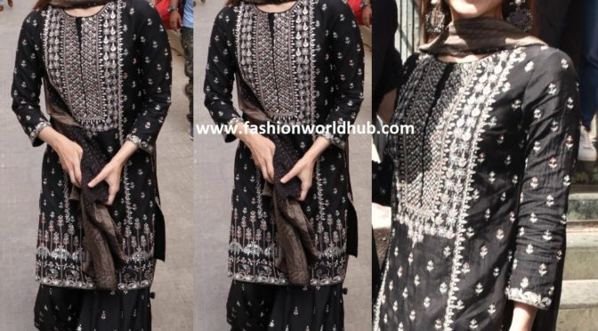 Alia Bhatt in a black sharara suit at Kalank song launch