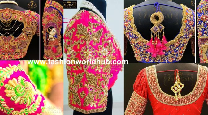 "Beautiful Maggam work blouses by "" Zarigai By Gitanjali"""