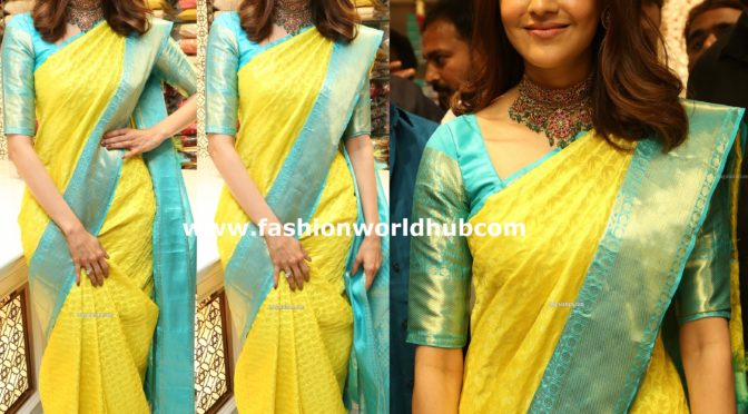 Kajal Aggarwal in a yellow kanjeevaram saree