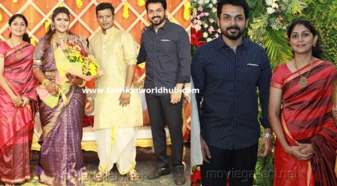 KarthiK & Ranjini at Parthiban daughter Abhinaya's wedding