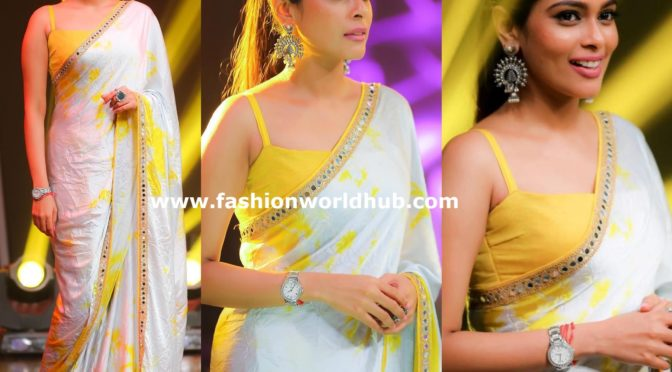 Kiki Vijaya in white and yellow shibori saree by Anju Shankar