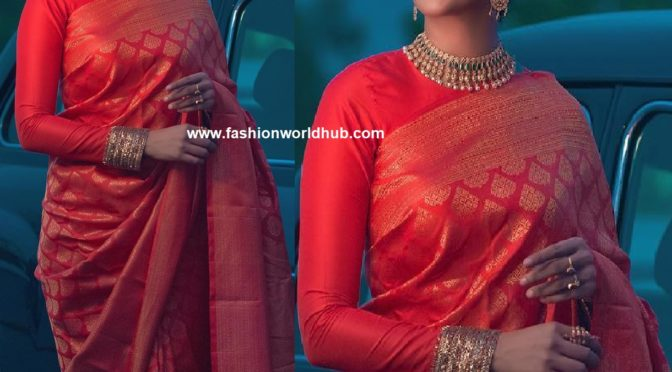 Nyla Usha in Red kanjeevaram saree!