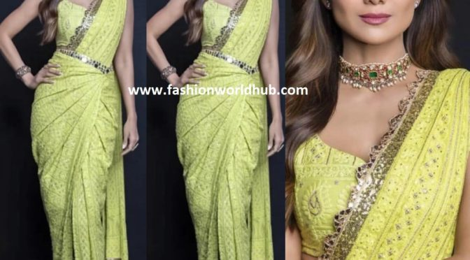 Shilpa Shetty in Neon green saree by Label D