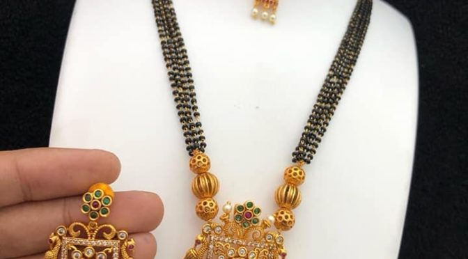 One gram gold black beads with Peacock jumkha pendant!