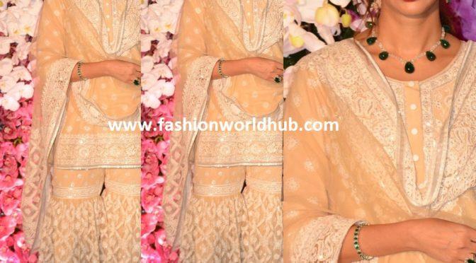 Shweta Bachchan Nanda in Sharara suit by Abu Jani Sandeep Khosla