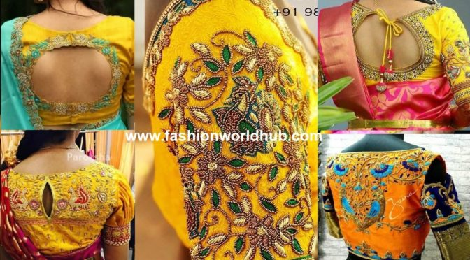 Yellow Embroidered Blouse Designs!