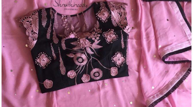 Designer Saree with Designer blouse by Shruthi Reddy