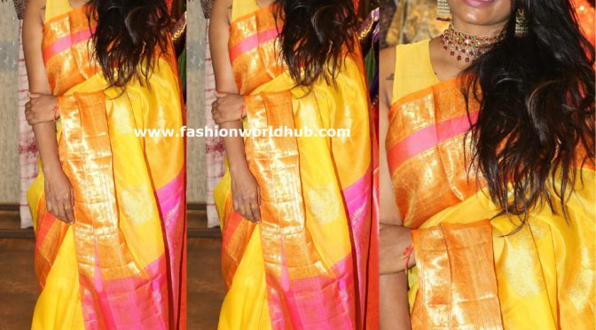 Sashi Vangapalli in Yellow kanjeevaram Saree!