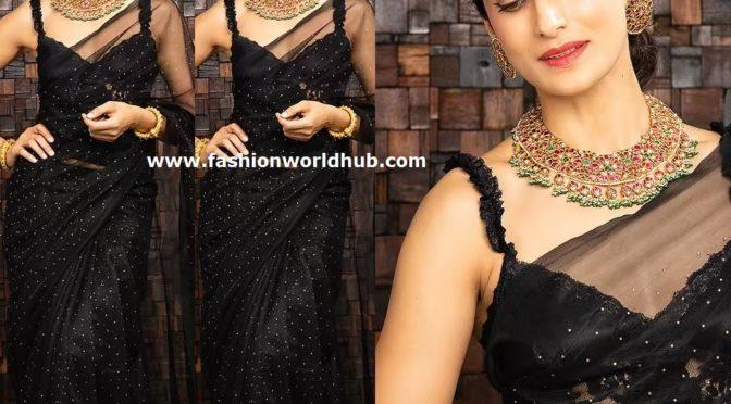Shilpa Reddy in a black organza saree