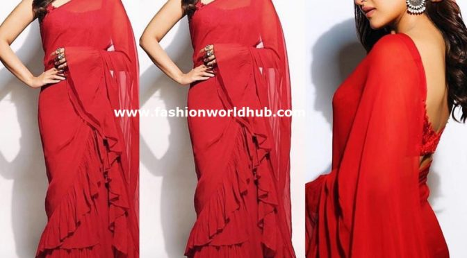 Sonakshi Sinha in a  Red ruffle saree at Kalank promotions