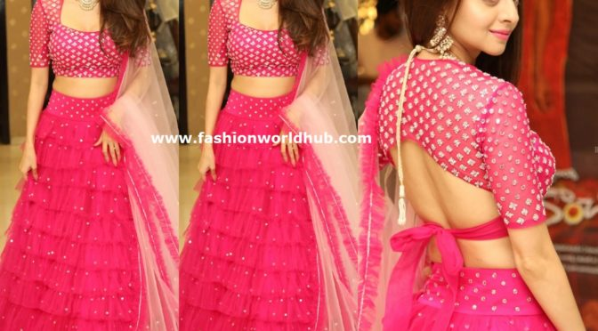 Vedhika in a pink lehenga at Kanchana 3 success meet