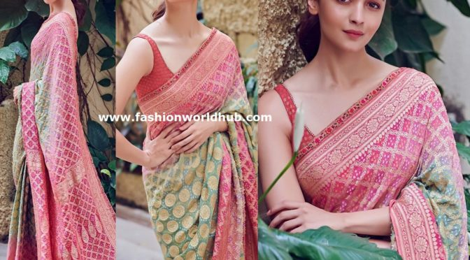 Alia bhatt in tarun tahiliani saree at Kalank Promotions!