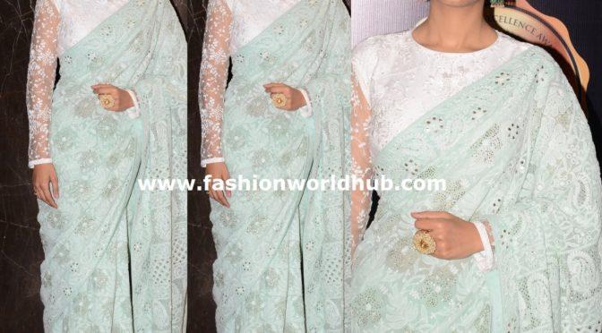 Amrita Rao in a Pastel blue chikankari saree