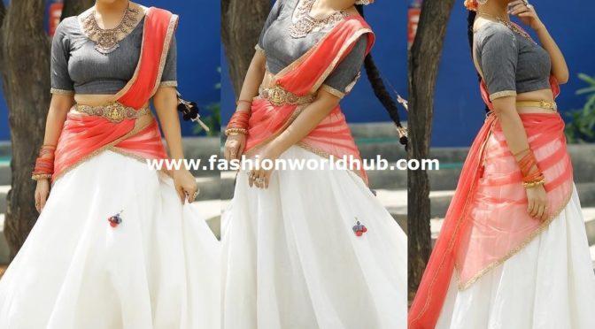 "Anasuya in Traditional half saree by ""Studio bustle"""