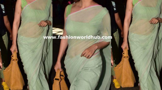 Kangana Ranaut in a pastel green mul saree
