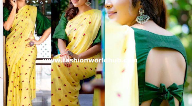 Ramya subramanyam in yellow saree!