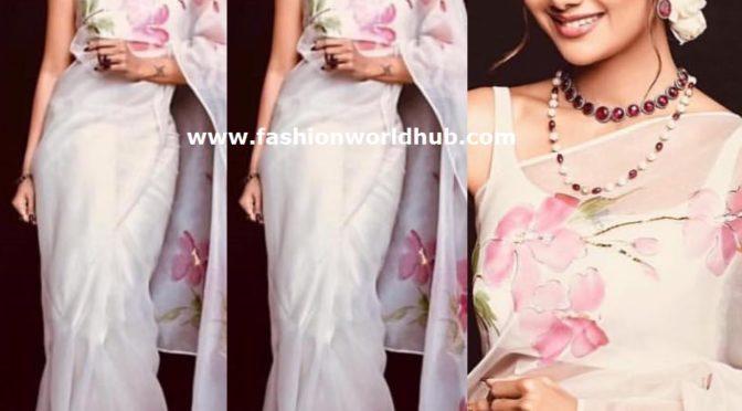 Shilpa Shetty in White organza saree by Picchika