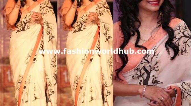 Singer Sunitha's looks stunning in Ivory Printed Saree!