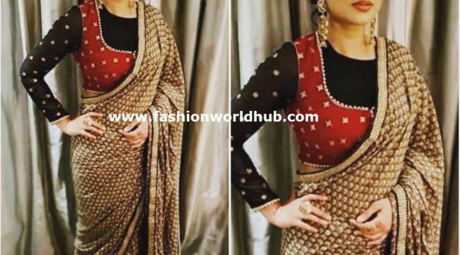 Sneha Prasanna in designer saree by Geetu designs!