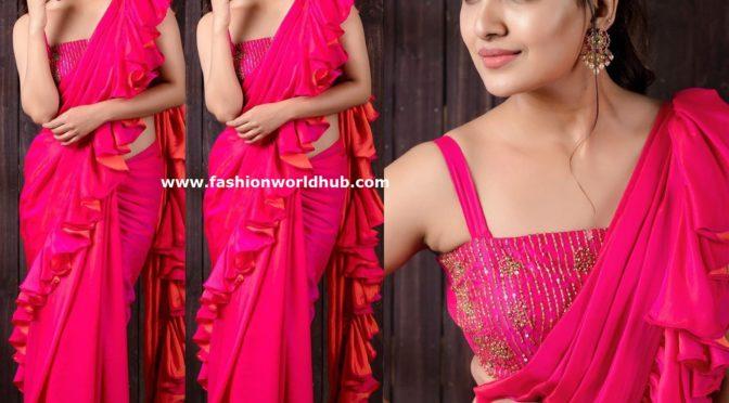 Vani Bhojan in a pink ruffle saree