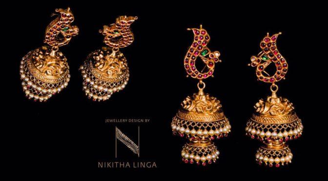 "Gold jumkha designs from "" Nikhita Linga"""