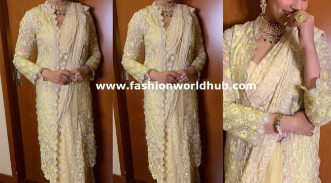 Bipasha Basu in yellow embroidered saree!