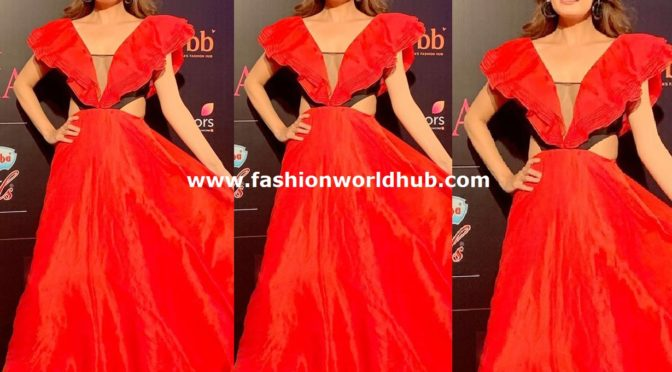 Dia Mirza in Red gown by Vanda