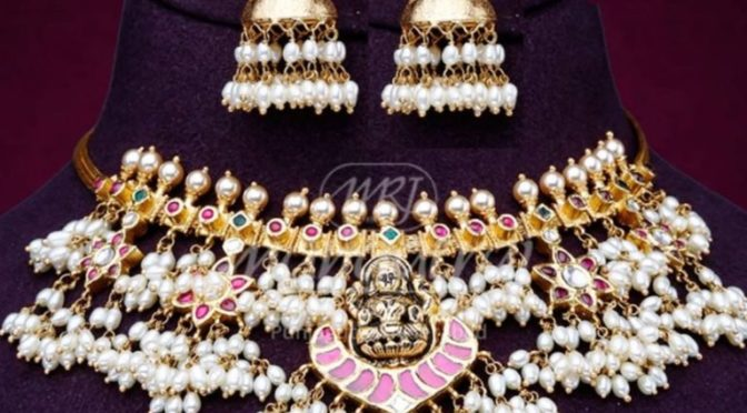Guttapusalu necklace and jhumkas set