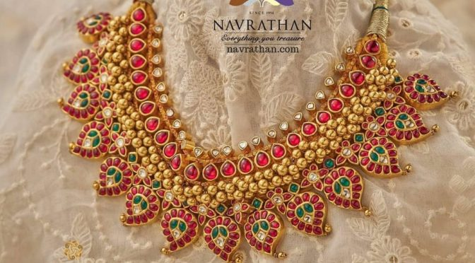 Gold and diamond necklace designs by Navrathan Jewellers